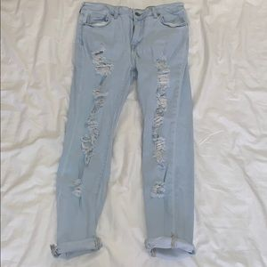 Light-wash Ripped Jeans